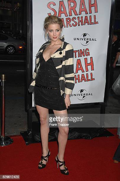 Actress Amber Heard arrives at the premiere of 'Forgetting Sarah Marshall' held at Grauman's Chinese Theater in Holllywood
