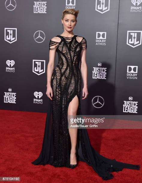 Actress Amber Heard arrives at the premiere of Warner Bros Pictures' 'Justice League' at Dolby Theatre on November 13 2017 in Hollywood California