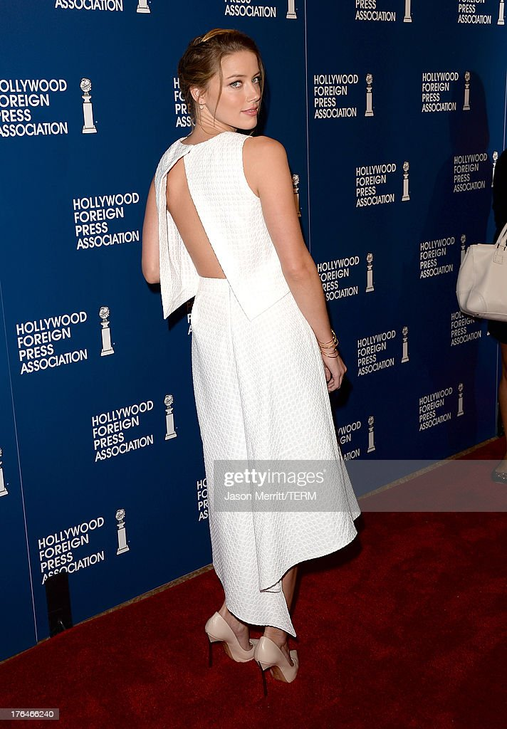 Actress Amber Heard attends Hollywood Foreign Press Association's 2013 Installation Luncheon at The Beverly Hilton Hotel on August 13, 2013 in Beverly Hills, California.