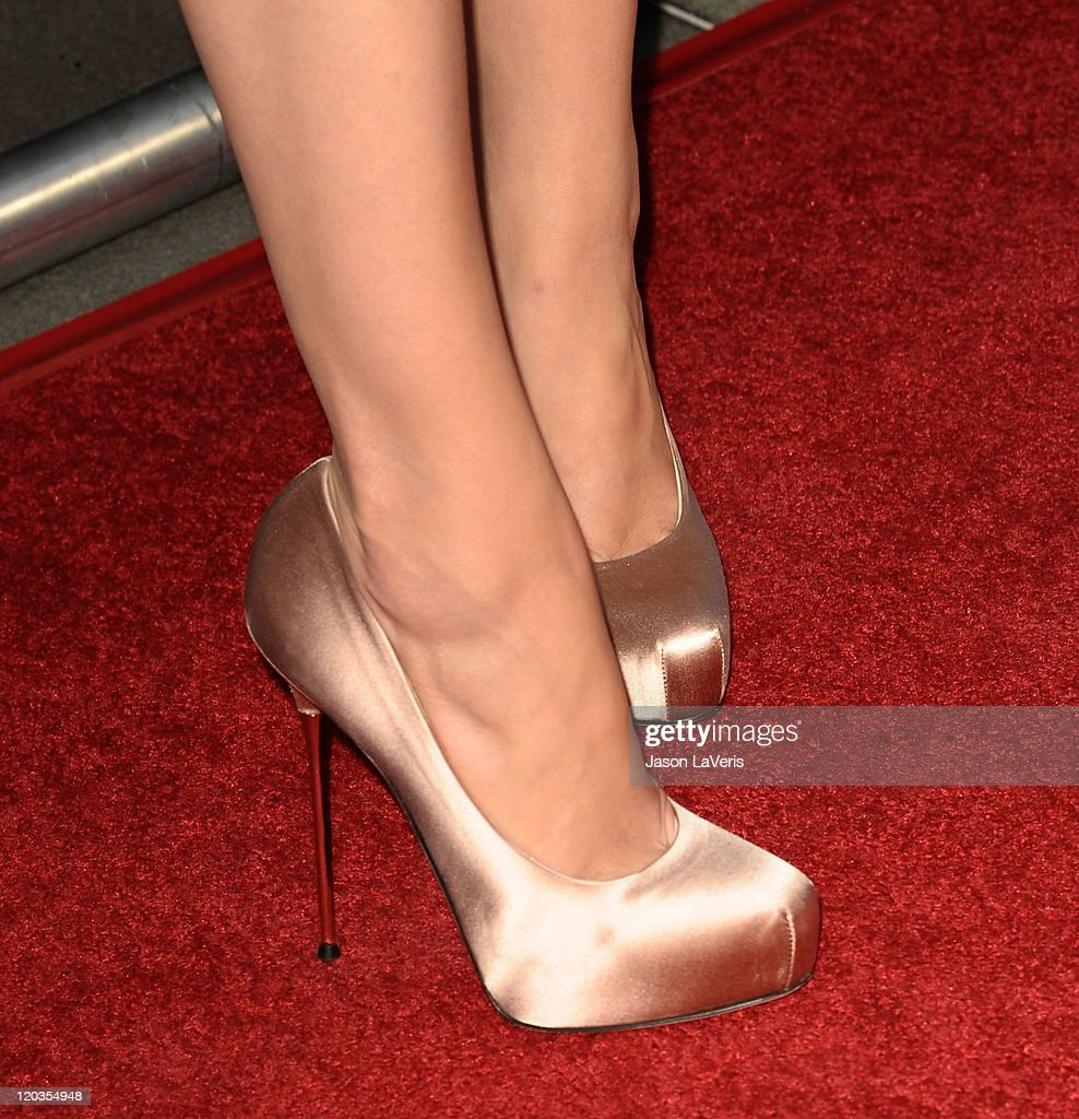 Actress Amber Heard (shoe detail) attends NBC's 2011 TCA summer press tour at The Bazaar at the SLS Hotel on August 1, 2011 in Los Angeles, California.