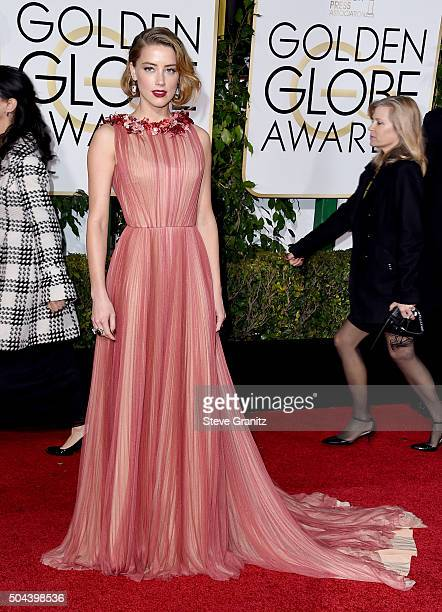 Actress Amber Heard attends the 73rd Annual Golden Globe Awards held at the Beverly Hilton Hotel on January 10 2016 in Beverly Hills California