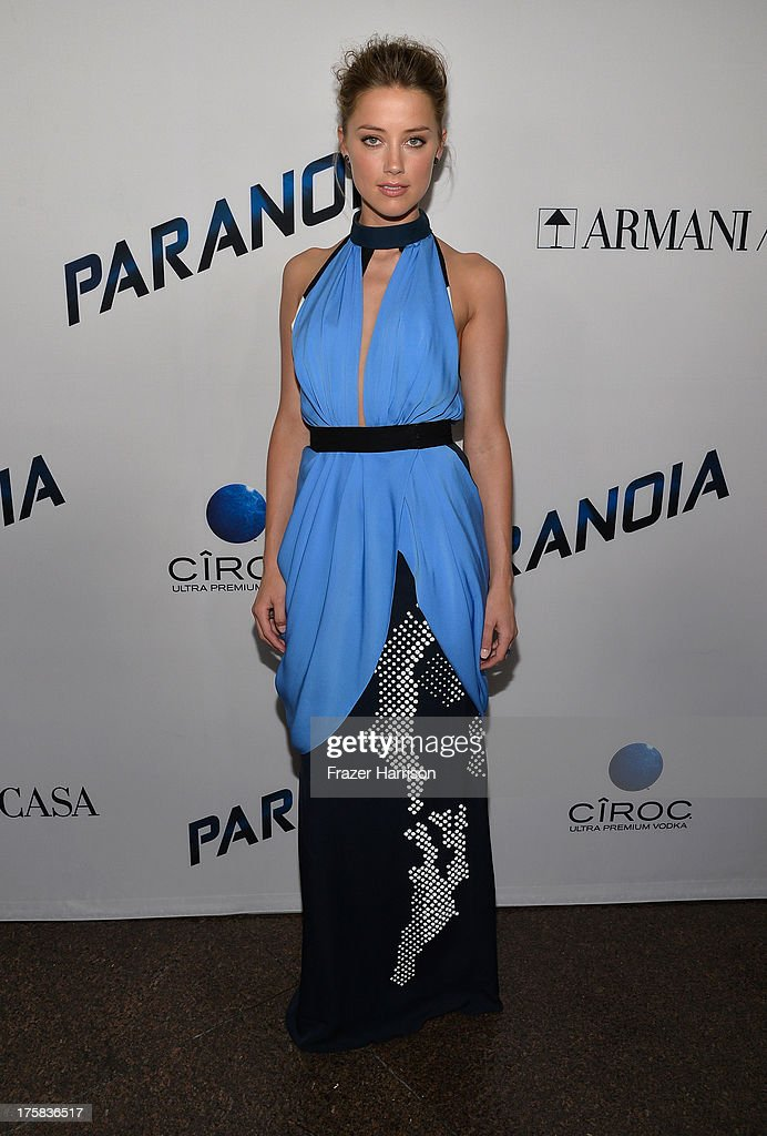 Actress <a gi-track='captionPersonalityLinkClicked' href=/galleries/search?phrase=Amber+Heard&family=editorial&specificpeople=2210577 ng-click='$event.stopPropagation()'>Amber Heard</a> attends the premiere of Relativity Media's 'Paranoia' at DGA Theater on August 8, 2013 in Los Angeles, California.
