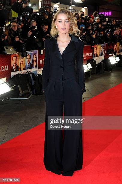 Actress Amber Heard attends the UK Premiere of 'Mortdecai' at Empire Leicester Square on January 19 2015 in London England
