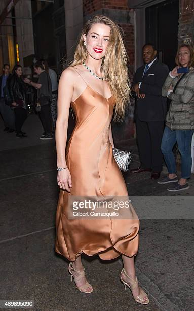 Actress Amber Heard is seen arriving to the 2015 Tiffany Blue Book dinner at ABC Kitchen on April 15 2015 in New York City