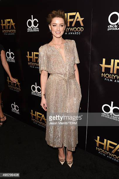 Actress Amber Heard poses in the press room during the 19th Annual Hollywood Film Awards at The Beverly Hilton Hotel on November 1 2015 in Beverly...