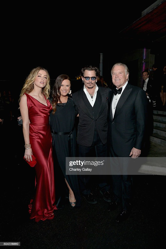 Actress Amber Heard, The Art of Elysium founder Jennifer Howell, actor Johnny Depp and The Art of Elysium chairman of the board Tim Headington attend The Art of Elysium 2016 HEAVEN Gala presented by Vivienne Westwood & Andreas Kronthaler at 3LABS on January 9, 2016 in Culver City, California.