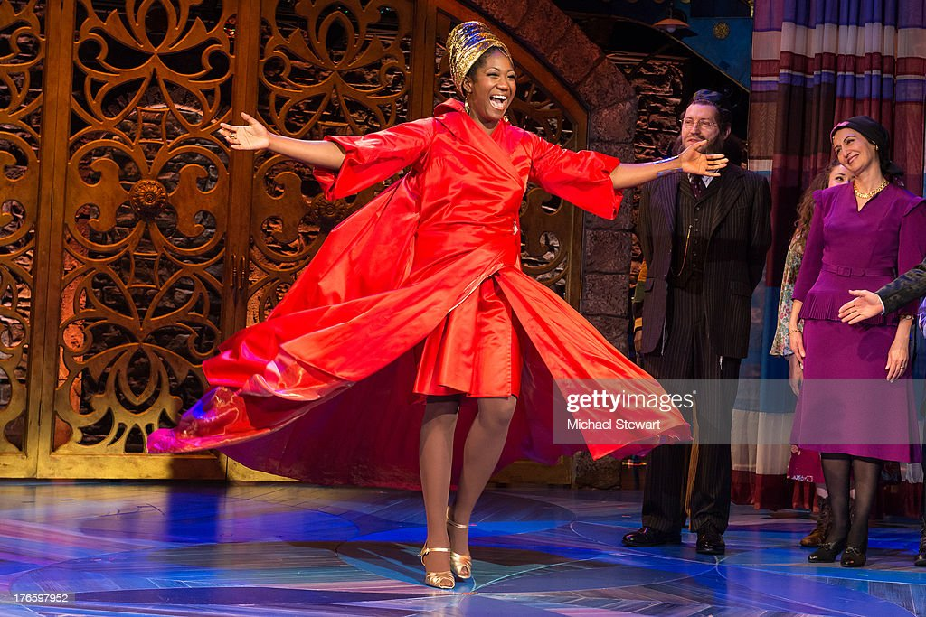Actress Amber Iman during the curtain call for the Broadway opening night of 'Soul Doctor' at the Circle in the Square Theatre on August 15, 2013 in New York City.