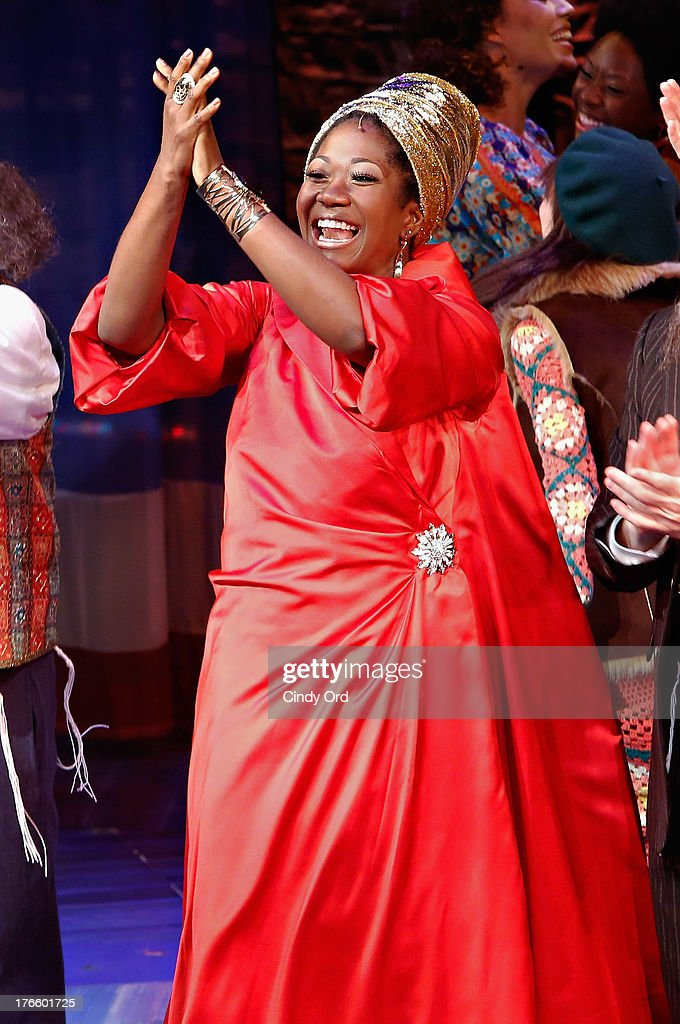 Actress Amber Iman participates in the curtain call for the Broadway opening night of 'Soul Doctor' at the Circle in the Square Theatre on August 15, 2013 in New York City.