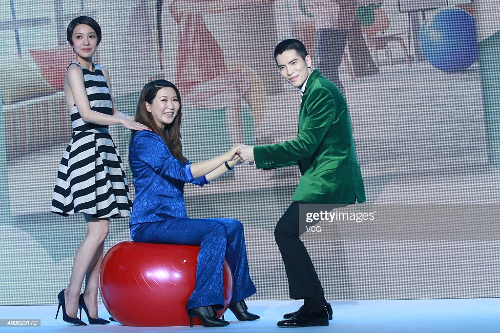 Actress Amber Kuo director Eva Jin and actor Jam Hsiao attend director Eva Jin's new movie 'Crazy New Year's Eve' press conference on December 18...