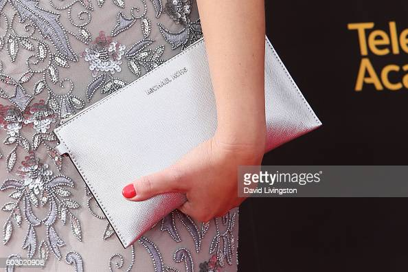 Actress Amber Nash purse detail attends the 2016 Creative Arts Emmy Awards Day 2 at the Microsoft Theater on September 11 2016 in Los Angeles...