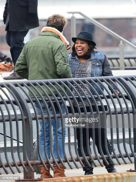 Actress Amber Riley and Chord Overstreet are seen on the set of Glee in Dumbo in Brooklyn on March 17 2014 in New York City
