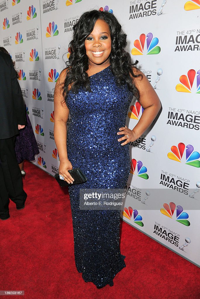 Actress Amber Riley arrives at the 43rd NAACP Image Awards held at The Shrine Auditorium on February 17, 2012 in Los Angeles, California.