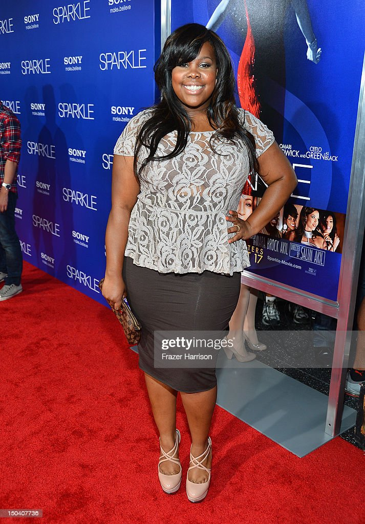 Actress Amber Riley arrives at Tri-Star Pictures' 'Sparkle' premiere at Grauman's Chinese Theatre on August 16, 2012 in Hollywood, California.