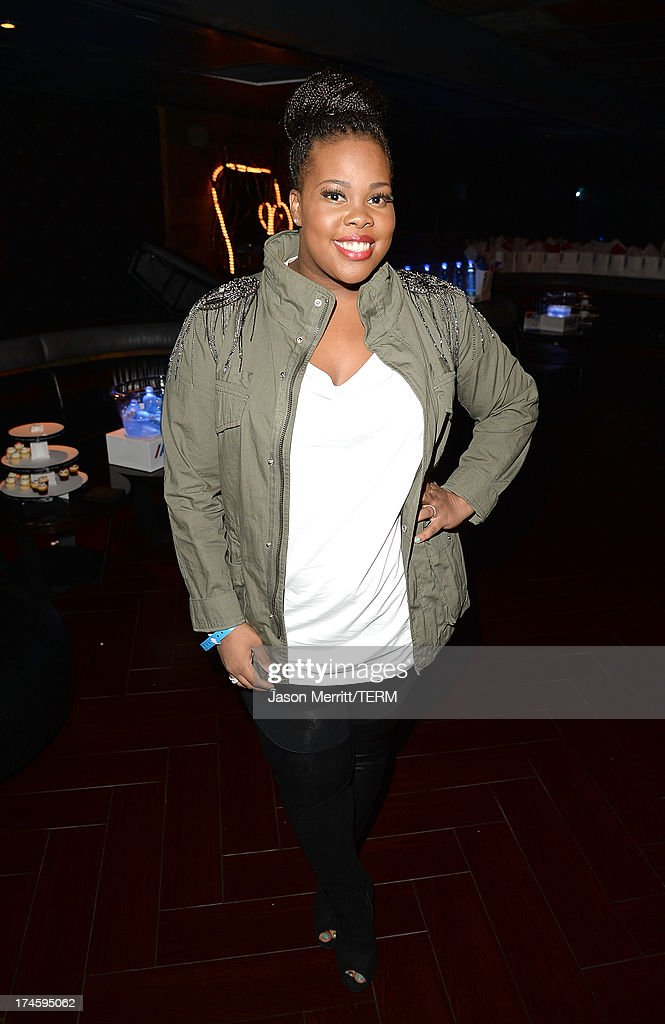 Actress Amber Riley attends a private event at Hyde Lounge for the Bruno Mars & Ellie Goulding concert hosted by AQUAhydrate at The Staples Center on July 27, 2013 in Los Angeles, California.