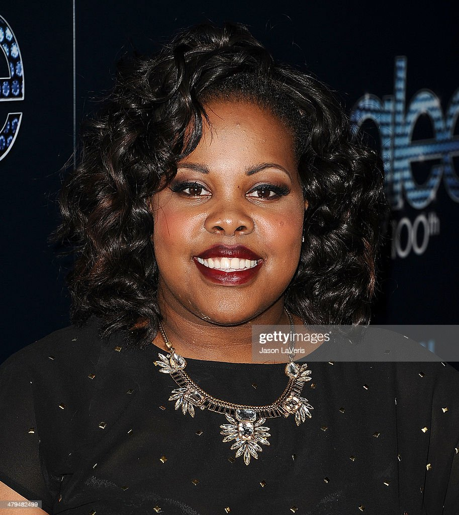 Actress <a gi-track='captionPersonalityLinkClicked' href=/galleries/search?phrase=Amber+Riley&family=editorial&specificpeople=5662111 ng-click='$event.stopPropagation()'>Amber Riley</a> attends the 'Glee' 100th episode celebration at Chateau Marmont on March 18, 2014 in Los Angeles, California.