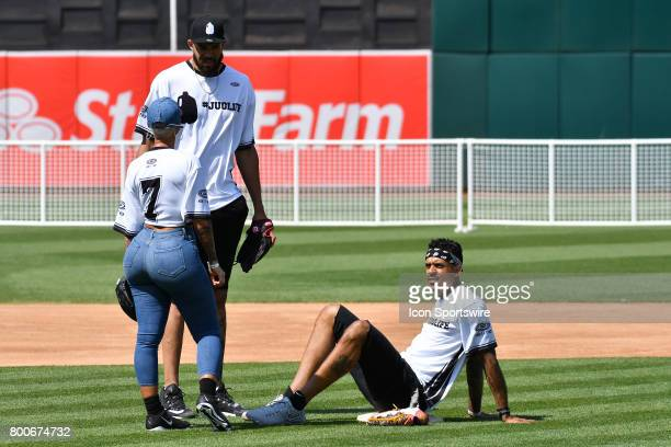 Actress Amber Rose chats with Golden State Warriors Javale McGee and Matt Barnes during JaVale McGees JUGLIFE charity softball game on June 24 at...