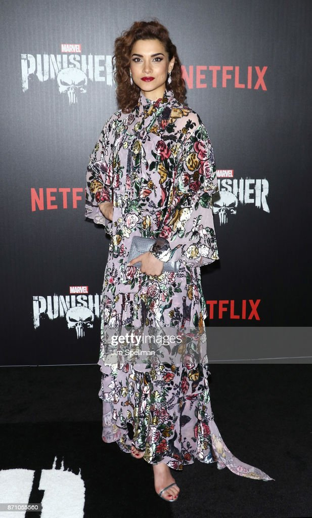 Actress Amber Rose Revah attends the 'Marvel's The Punisher' New York premiere at AMC Loews 34th Street 14 theater on November 6, 2017 in New York City.