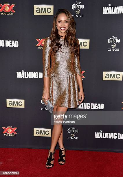 Actress Amber Stevens attends the season 5 premiere of 'The Walking Dead' at AMC Universal City Walk on October 2 2014 in Universal City California