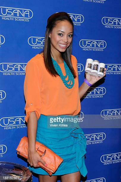 Actress Amber Stevens poses with USANA during Kari Feinstein MTV Movie Awards Style Lounge at W Hollywood on June 2 2011 in Hollywood California