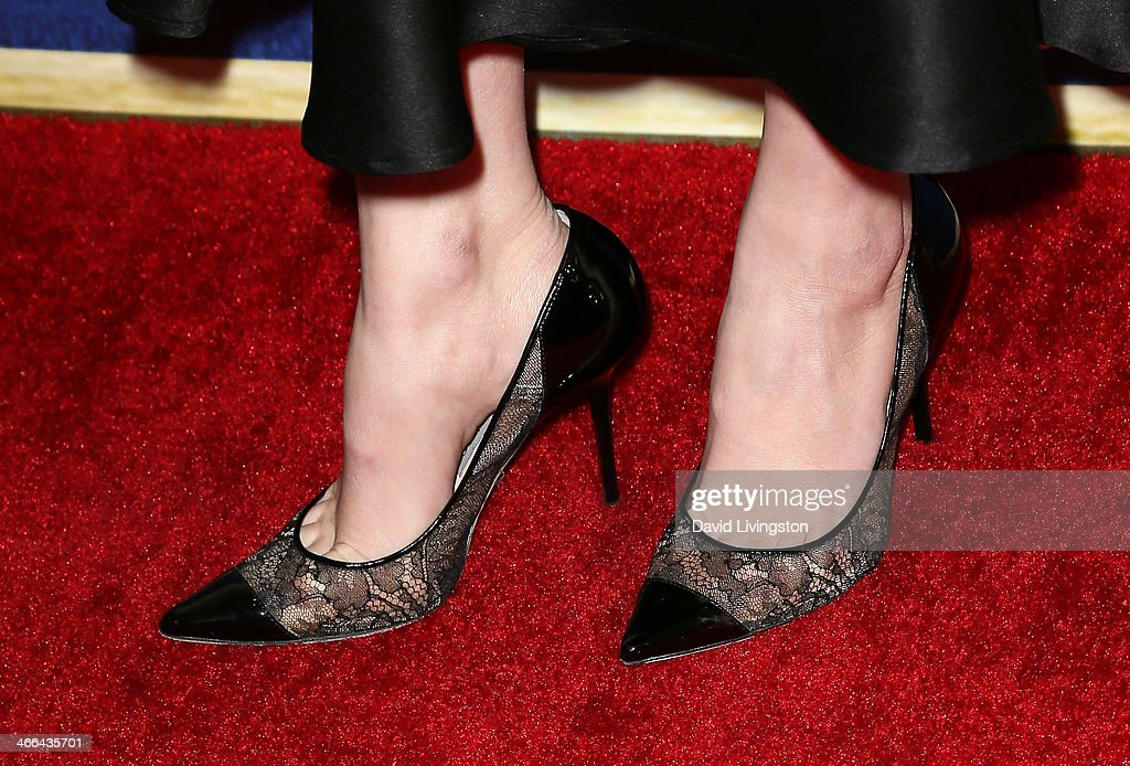 Actress Amber Tamblyn (shoe detail) attends the 2014 Writers Guild Awards L.A. Ceremony at JW Marriott Los Angeles at L.A. LIVE on February 1, 2014 in Los Angeles, California.