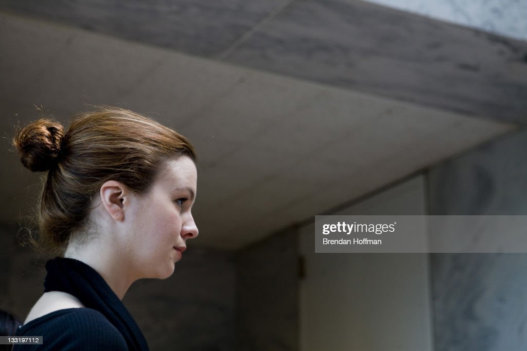 Actress Amber Tamblyn waits for a meeting with Sen Debbie Stabenow to discuss ways to provide affordable birth control April 23 2008 in Washington DC