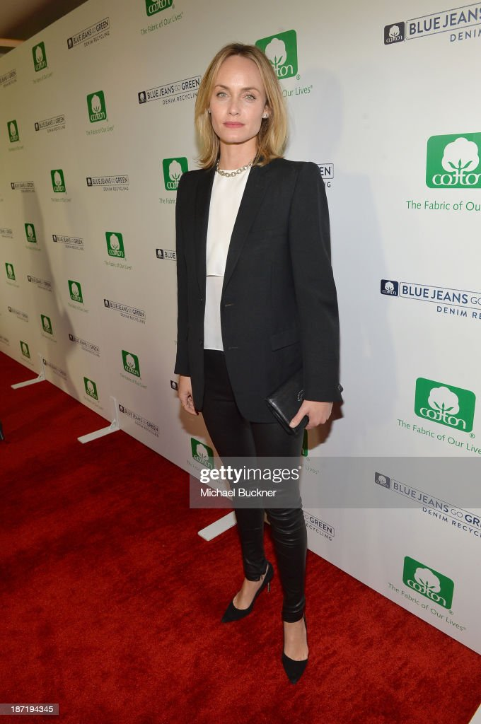 Actress <a gi-track='captionPersonalityLinkClicked' href=/galleries/search?phrase=Amber+Valletta&family=editorial&specificpeople=206940 ng-click='$event.stopPropagation()'>Amber Valletta</a> attends Cotton Incorporated's Blue Jeans Go Green celebrates 1 million pieces of denim collected for recycling at SkyBar at the Mondrian Los Angeles on November 6, 2013 in West Hollywood, California.