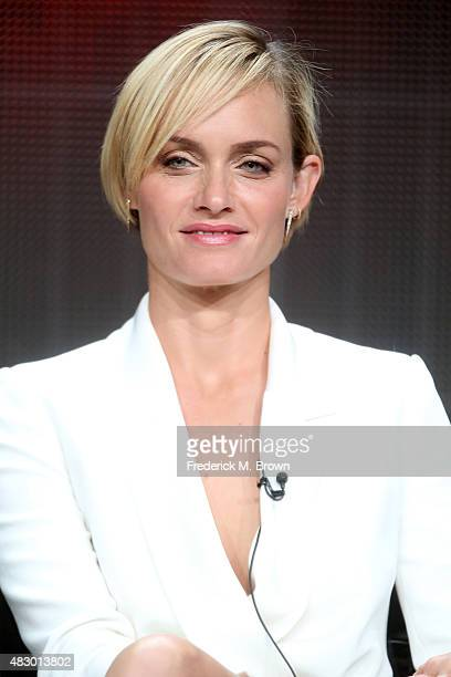 Actress Amber Valletta speaks onstage during the 'Blood Oil' panel discussion at the ABC Entertainment portion of the 2015 Summer TCA Tour at The...