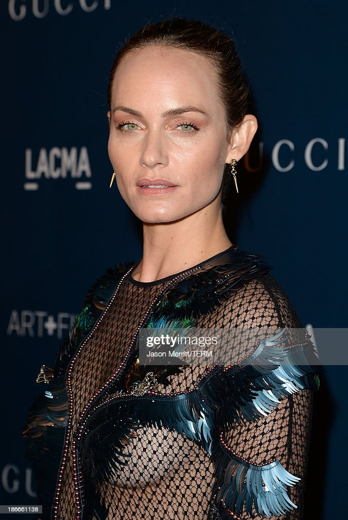 Actress Amber Valletta, wearing Gucci, attends the LACMA 2013 Art + Film Gala honoring Martin Scorsese and David Hockney presented by Gucci at LACMA on November 2, 2013 in Los Angeles, California.