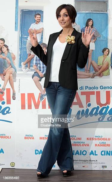 Actress Ambra Angiolini attends 'Immaturi Il Viaggio' photocall at Visconti Hotel on January 3 2012 in Rome Italy