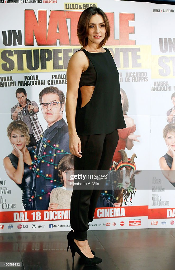 Actress Ambra Angiolini attends 'Un Natale Stupefacente' photocall at Cinema Savoy on December 17, 2014 in Rome, Italy.