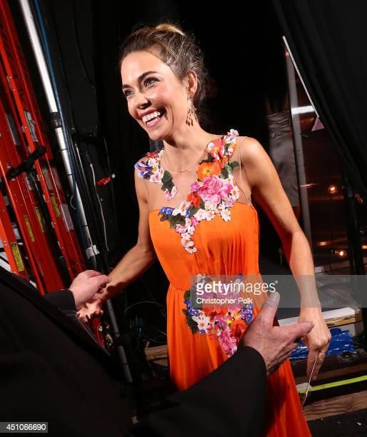Actress Amelia Heinle backstage at The 41st Annual Daytime Emmy Awards at The Beverly Hilton Hotel on June 22 2014 in Beverly Hills California