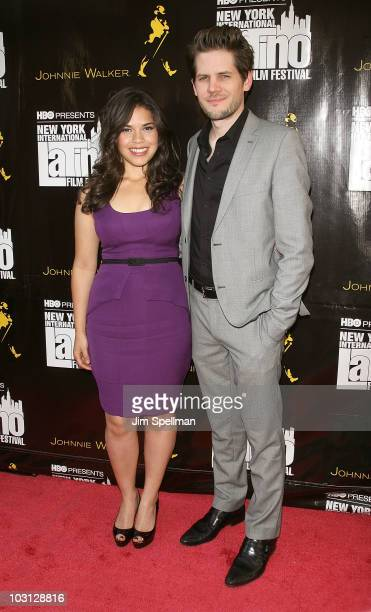 Actress America Ferrera and Director Ryan Piers Williams attend the 2010 NYILFF Premiere of 'The Dry Land' at the School of Visual Arts Theater on...
