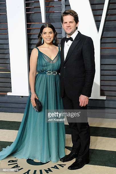 Actress America Ferrera and director Ryan Piers Williams attends the 2015 Vanity Fair Oscar Party hosted by Graydon Carter at Wallis Annenberg Center...
