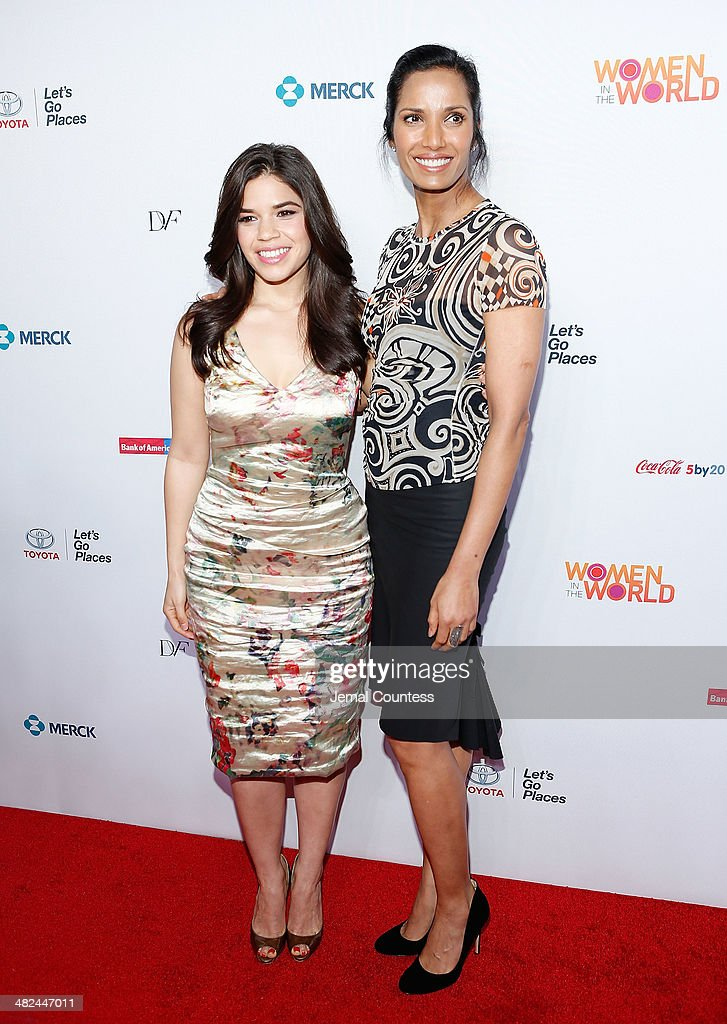 Actress America Ferrera and model/media personality Padma Lakshmi attend the 5th Annual Women In The World Summit at the David Koch Theatre at Lincoln Center on April 3, 2014 in New York City.