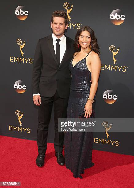 Actress America Ferrera and Ryan Piers Williams attend the 68th Annual Primetime Emmy Awards at Microsoft Theater on September 18 2016 in Los Angeles...