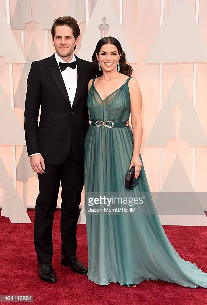 Actress America Ferrera and Ryan Piers Williams attend the 87th Annual Academy Awards at Hollywood Highland Center on February 22 2015 in Hollywood...