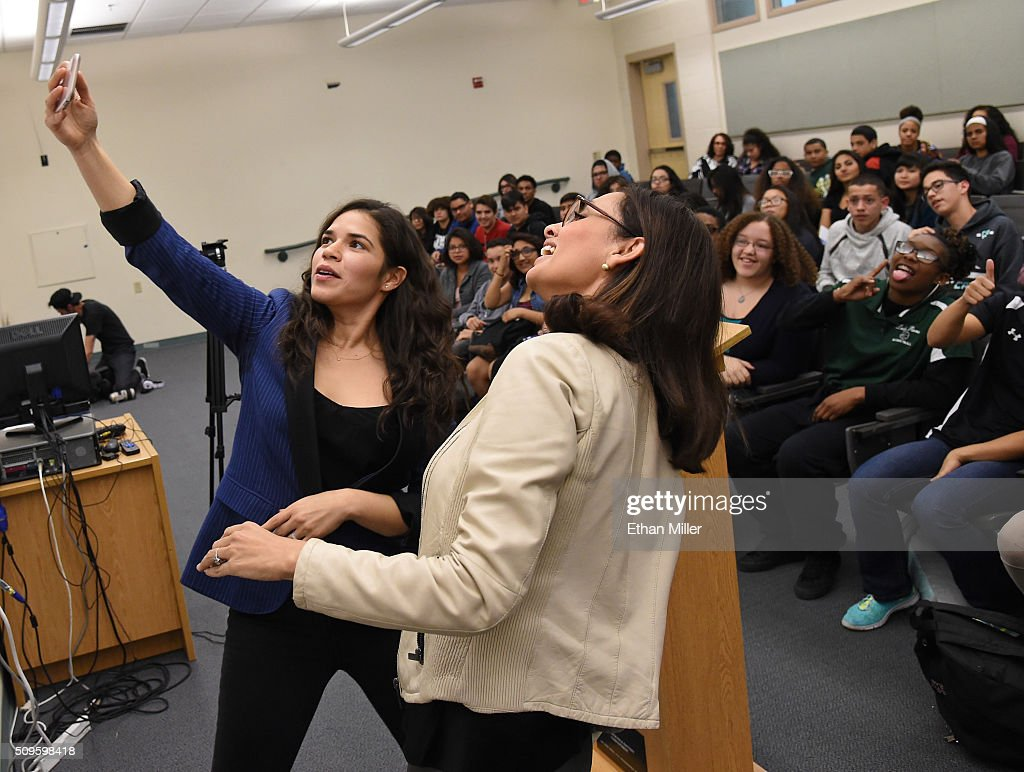 Actress <a gi-track='captionPersonalityLinkClicked' href=/galleries/search?phrase=America+Ferrera&family=editorial&specificpeople=216393 ng-click='$event.stopPropagation()'>America Ferrera</a> (L) and Voto Latino President and CEO Maria Teresa Kumar take a selfie in front of students at Rancho High School after speaking to them to discuss the importance of young voters, including Latinos, participating in the civic process on February 11, 2016 in North Las Vegas, Nevada. Nevada's caucus for the Democratic presidential candidate is on February 20 and the Republicans caucus on February 23.