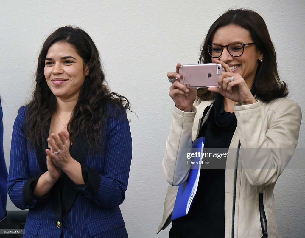 Actress <a gi-track='captionPersonalityLinkClicked' href=/galleries/search?phrase=America+Ferrera&family=editorial&specificpeople=216393 ng-click='$event.stopPropagation()'>America Ferrera</a> (L) and Voto Latino President and CEO Maria Teresa Kumar look on as they are introduced before talking to students at Rancho High School to discuss the importance of young voters, including Latinos, participating in the civic process on February 11, 2016 in North Las Vegas, Nevada. Nevada's caucus for the Democratic presidential candidate is on February 20 and the Republicans caucus on February 23.