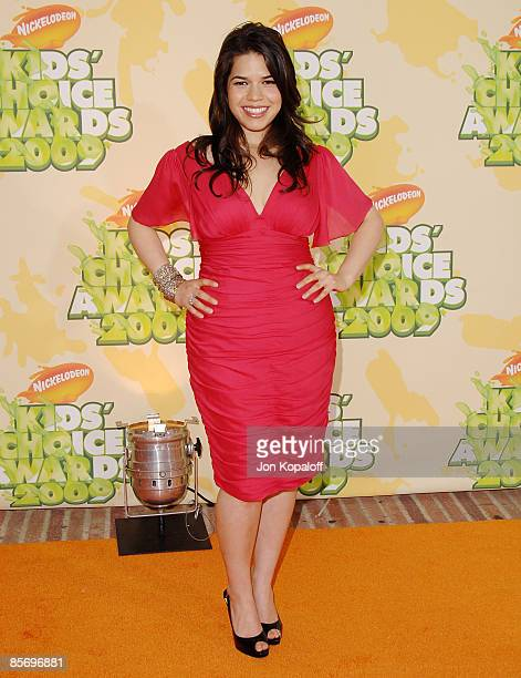 Actress America Ferrera arrives at Nickelodeon's 2009 Kids' Choice Awards at Pauley Pavilion on March 28 2009 in Westwood California