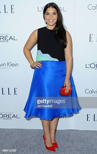 Actress America Ferrera arrives at the 22nd Annual ELLE Women In Hollywood Awards at Four Seasons Hotel Los Angeles at Beverly Hills on October 19...
