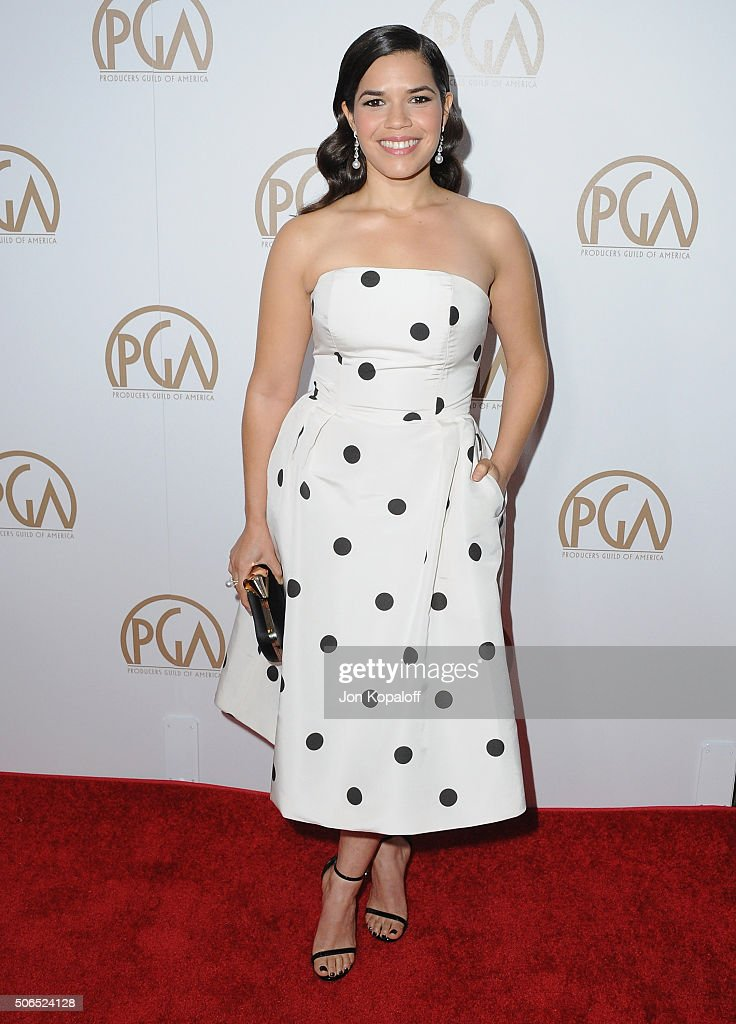 Actress America Ferrera arrives at the 27th Annual Producers Guild Awards at the Hyatt Regency Century Plaza on January 23, 2016 in Century City, California.