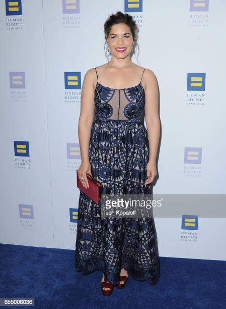 Actress America Ferrera arrives at the Human Rights Campaign's 2017 Los Angeles Gala Dinner at JW Marriott Los Angeles at LA LIVE on March 18 2017 in...