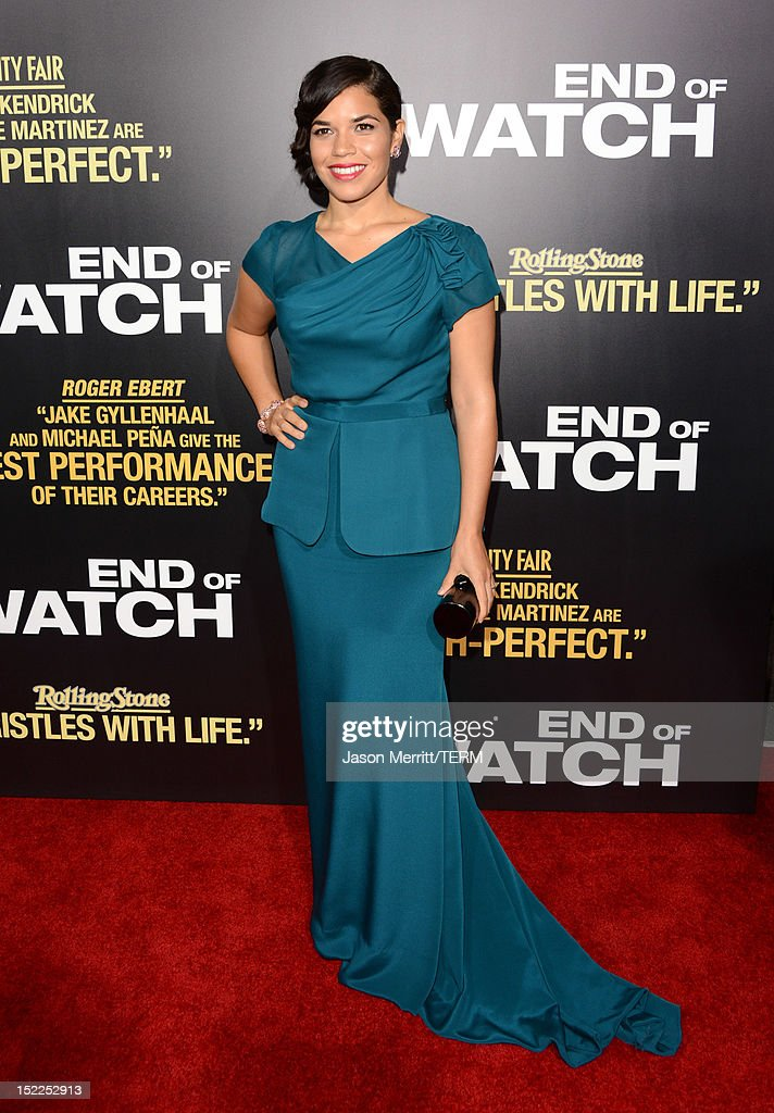 Actress America Ferrera arrives at the premiere of Open Road Films' 'End of Watch' at Regal Cinemas L.A. Live on September 17, 2012 in Los Angeles, California.