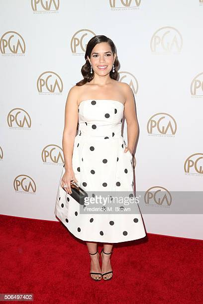 Actress America Ferrera attends 27th Annual Producers Guild Of America Awards at the Hyatt Regency Century Plaza on January 23 2016 in Century City...