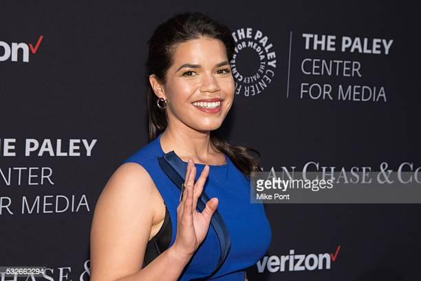 Actress America Ferrera attends the 2016 Paley Center for Media's Tribute To Hispanic Achievements In Television at Cipriani Wall Street on May 18...