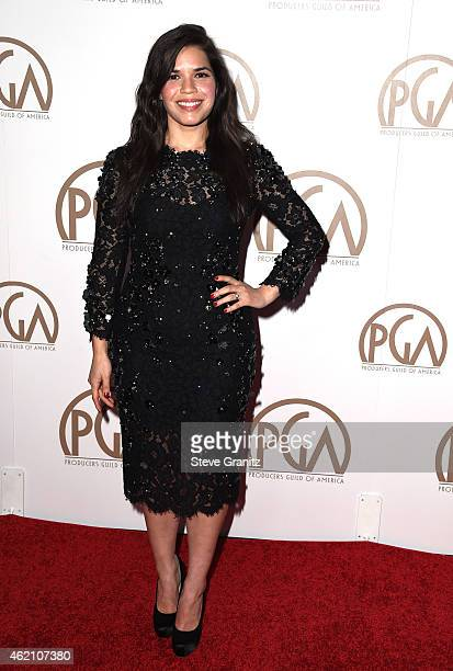 Actress America Ferrera attends the 26th Annual Producers Guild Of America Awards at the Hyatt Regency Century Plaza on January 24 2015 in Los...