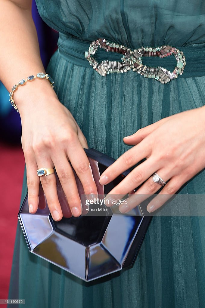 Actress America Ferrera (fashion detail) attends the 87th Annual Academy Awards at Hollywood & Highland Center on February 22, 2015 in Hollywood, California.