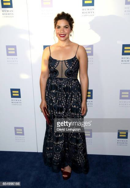 Actress America Ferrera attends the Human Rights Campaign's 2017 Los Angeles Gala Dinner at JW Marriott Los Angeles at LA LIVE on March 18 2017 in...