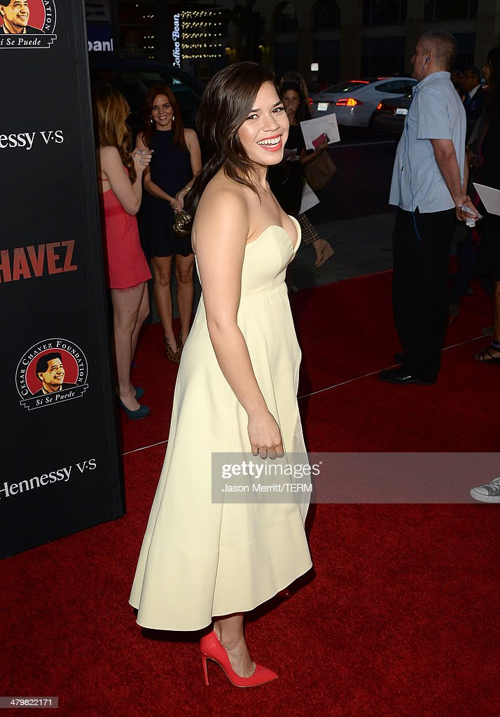 Actress America Ferrera attends the premiere of Pantelion Films and Participant Media's 'Cesar Chavez' - Arrivals at TCL Chinese Theatre on March 20, 2014 in Hollywood, California.