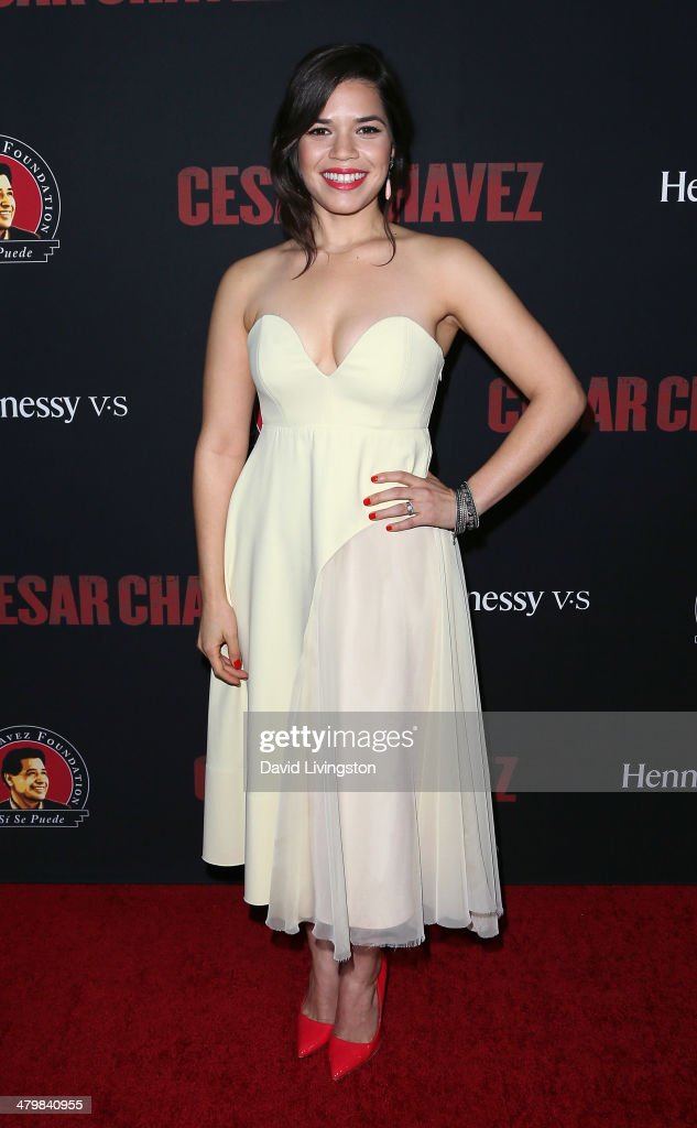 Actress <a gi-track='captionPersonalityLinkClicked' href=/galleries/search?phrase=America+Ferrera&family=editorial&specificpeople=216393 ng-click='$event.stopPropagation()'>America Ferrera</a> attends the premiere of Pantelion Films and Participant Media's 'Cesar Chavez' at TCL Chinese Theatre on March 20, 2014 in Hollywood, California.